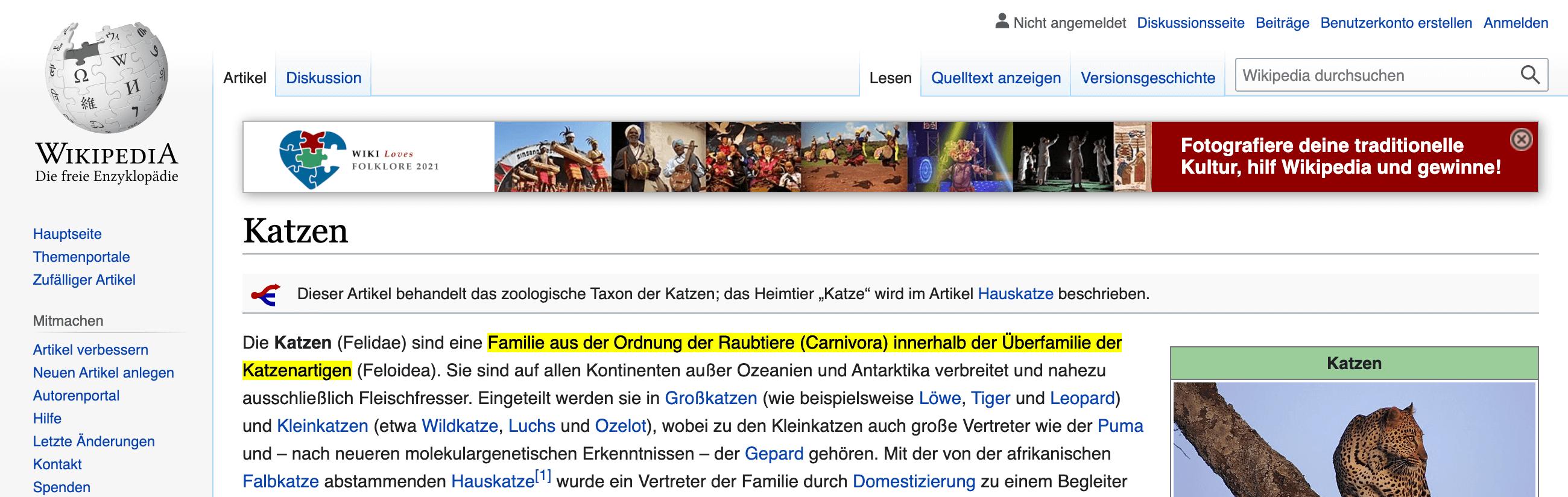 Zeigt einen farblich markierten Satz in dem Wikipedia-Artikel über Katzen.