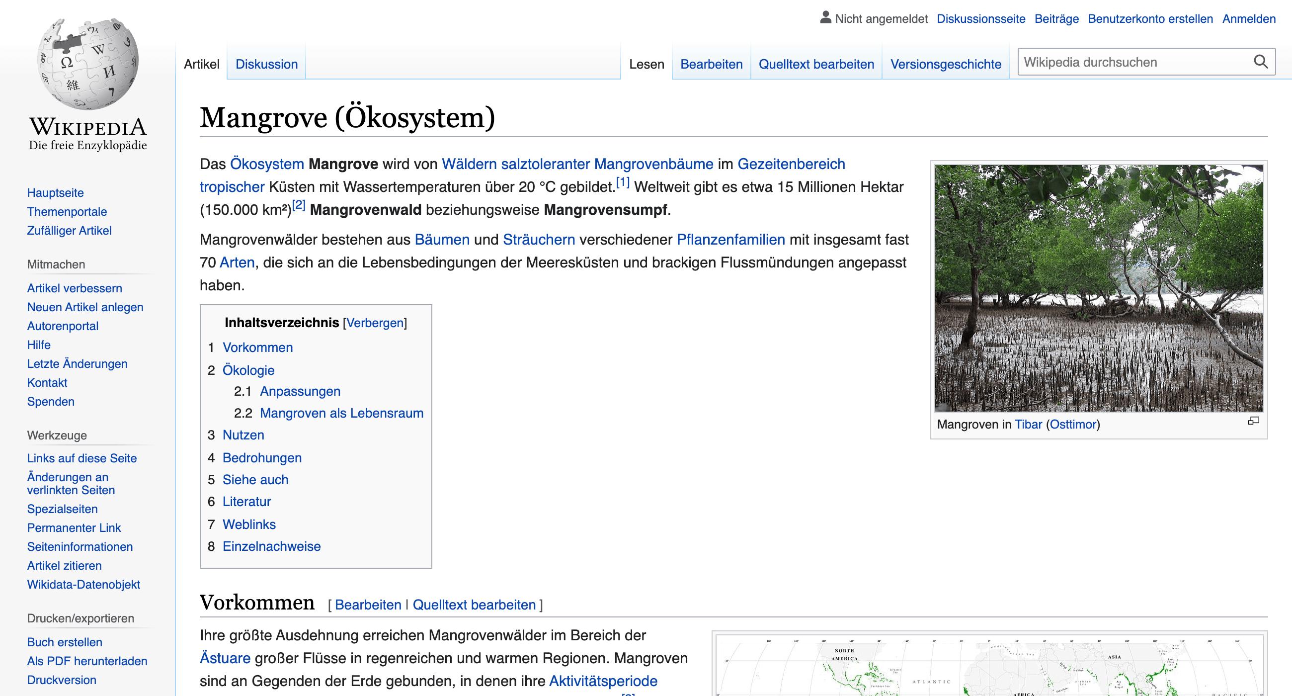 """Zeigt die Wikipedia-Seite für den Begriff """"Mangrove (Ökosystem)"""" an."""