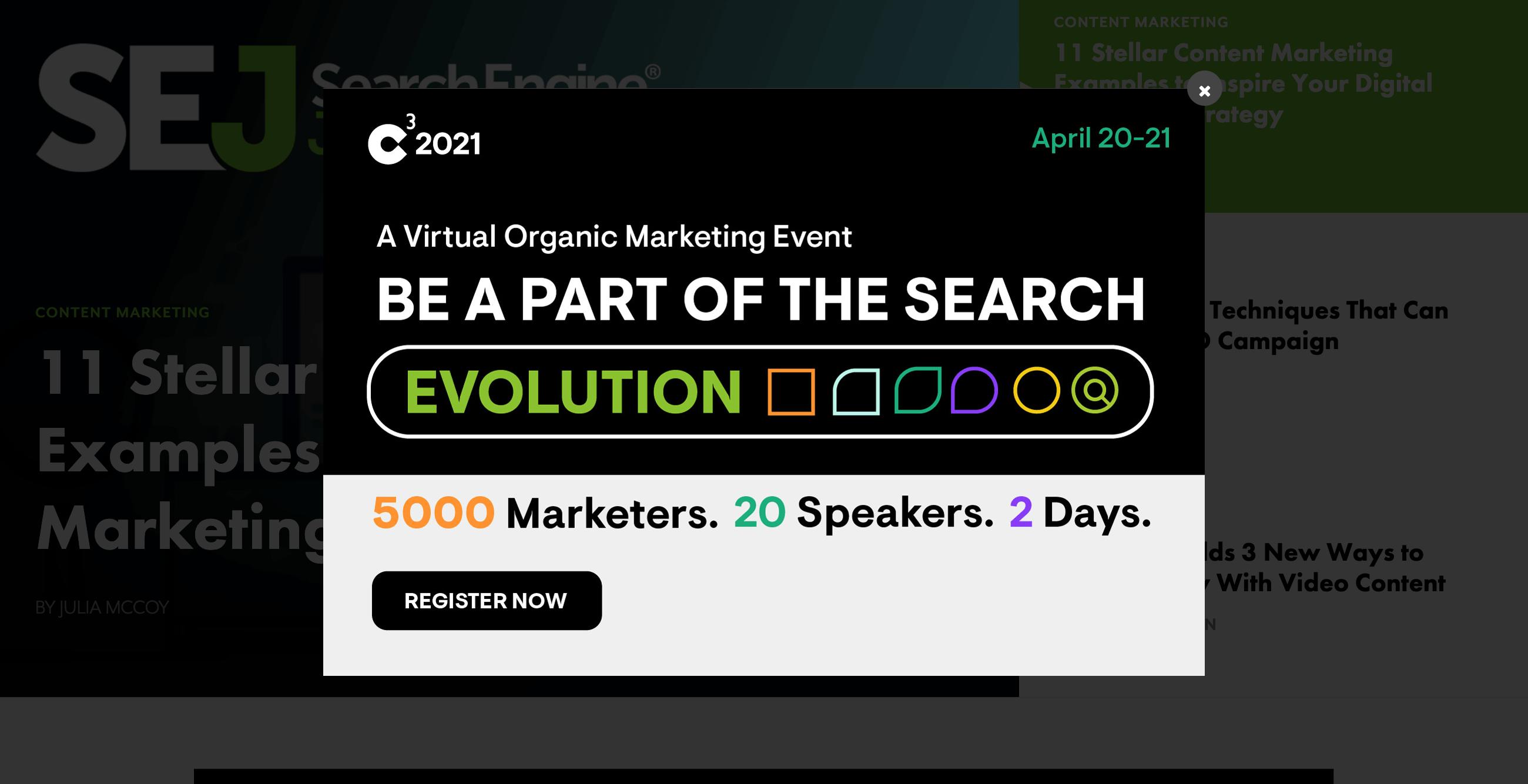 Zeigt ein Werbung-Interstitial auf einer Beispiel-Webseite an.