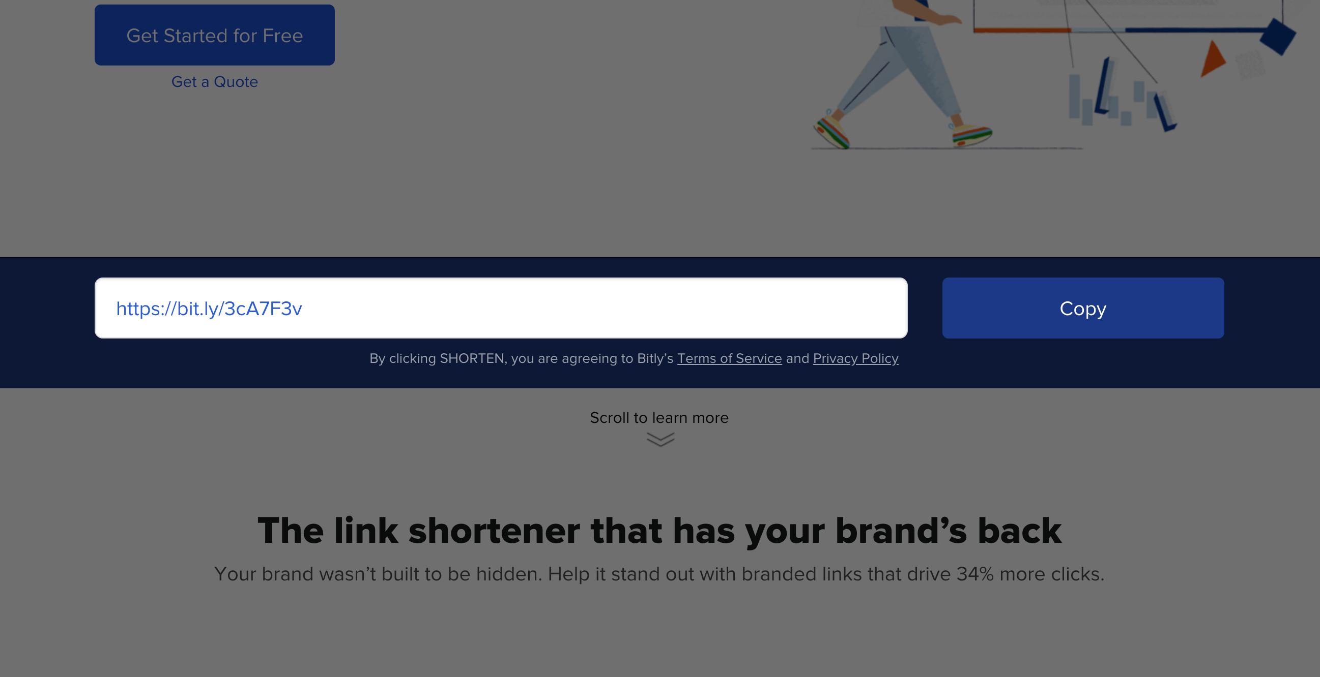 Zeigt eine generierte Beispiel-Kurz-URL auf der Seite des URL-Shorteners bit.ly an.