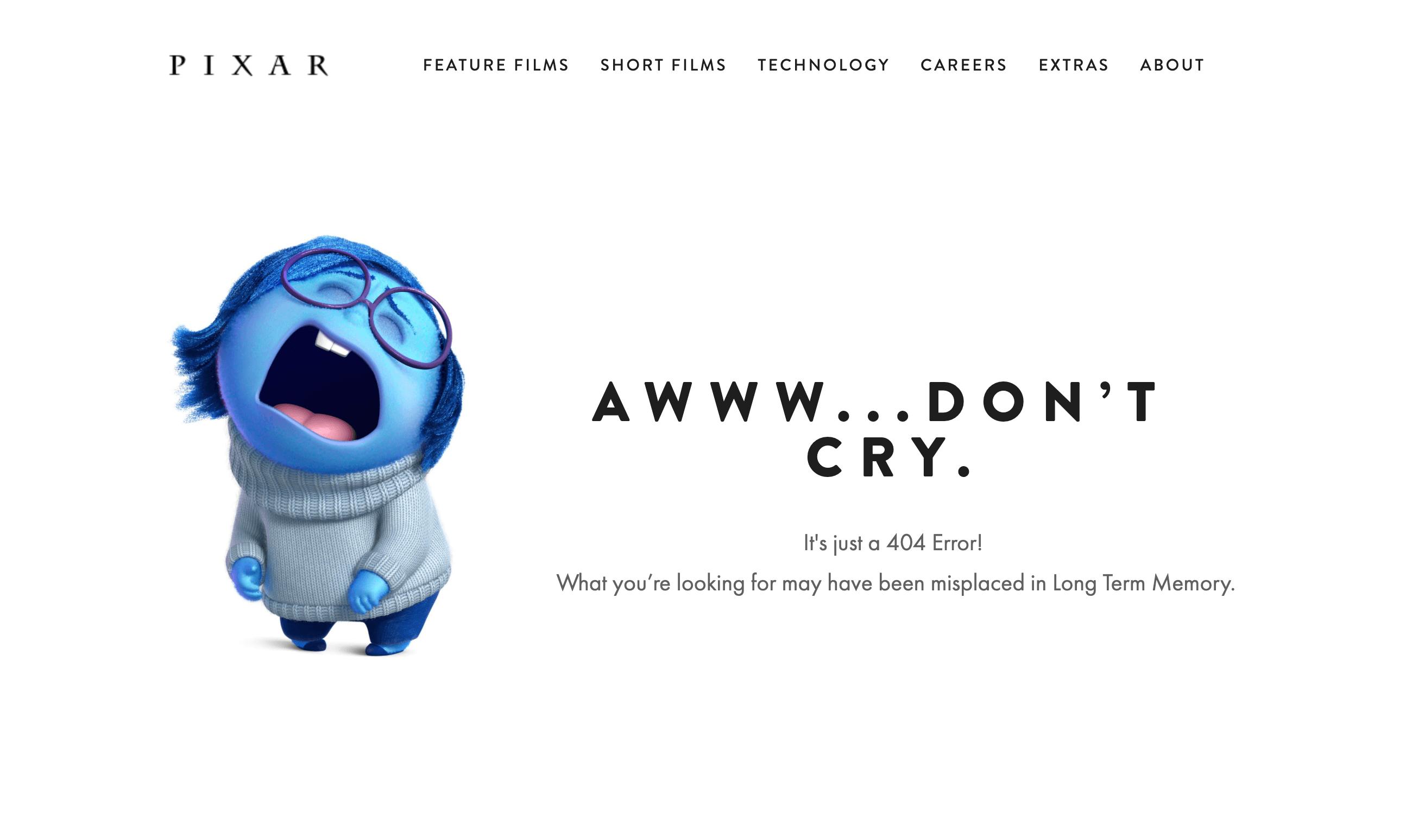 Zeigt eine Beispiel-404-Seite von pixar.com an.