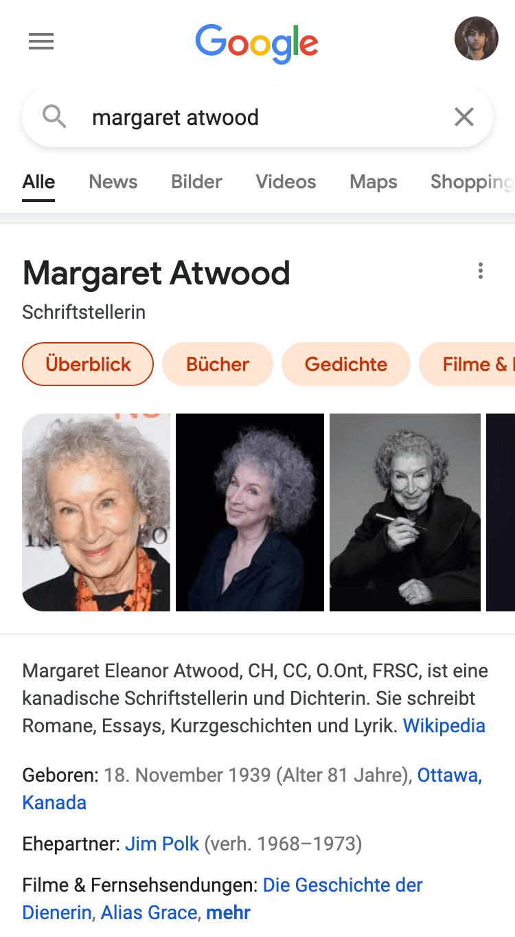 """Suchergebnisseite für das Keyword """"Margaret Atwood"""". Zeigt detaillierte Informationen über die Schriftstellerin an."""