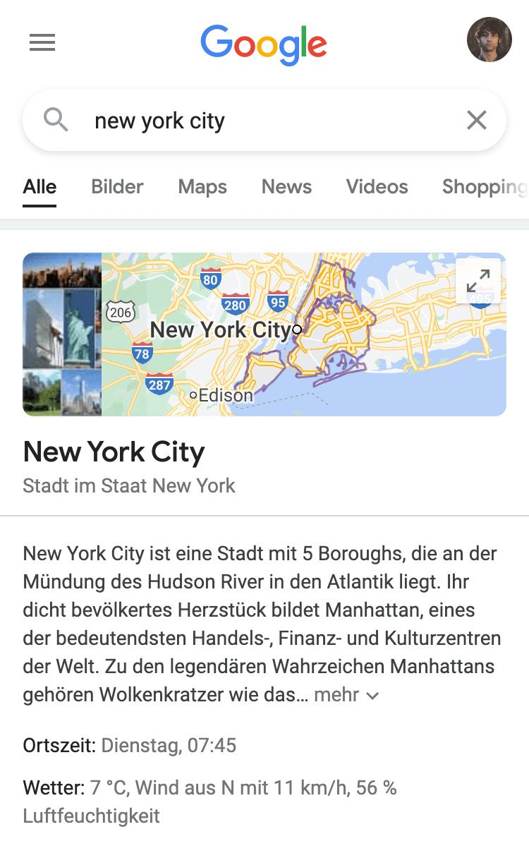"""Suchergebnisseite für das Keyword """"new york city"""". Zeigt ein Google Maps-Ergebnis an."""