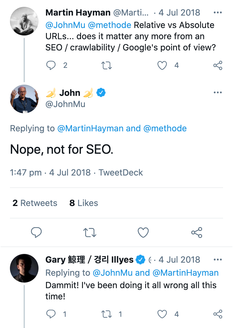 """Zeigt ein Tweet von Martin Hayman an. Martin Hayman fragt John Mueller, ob relative oder absoulte URLs eine Relevanz für SEO haben. Die Antwort von John Mueller lautet: """"Nope, nicht für SEO.""""."""