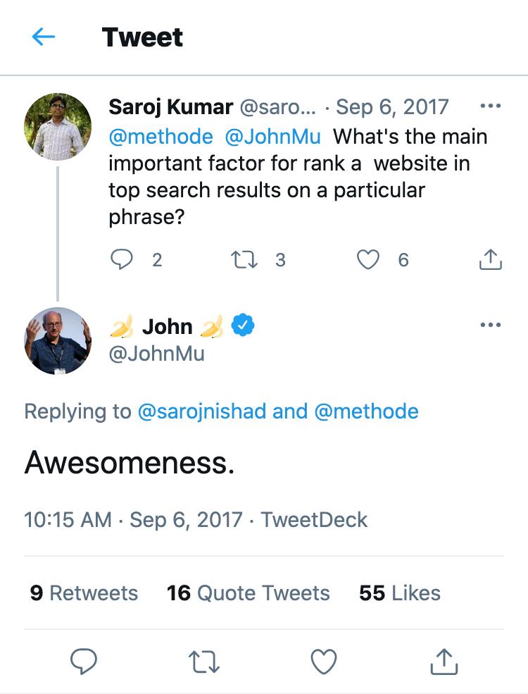 """Tweet-Antwort von John Mueller auf die Frage, was der wichtigste Rankingfaktor für eine Webseite sei. Die Antwort lautet """"Awesomeness""""."""