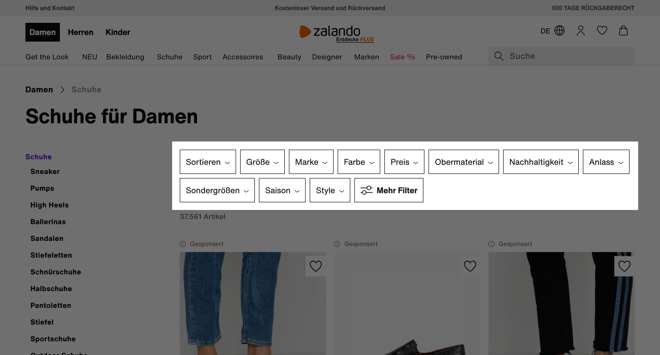 Filterfunktion auf der Damenschuhe-Seite von Zalando.