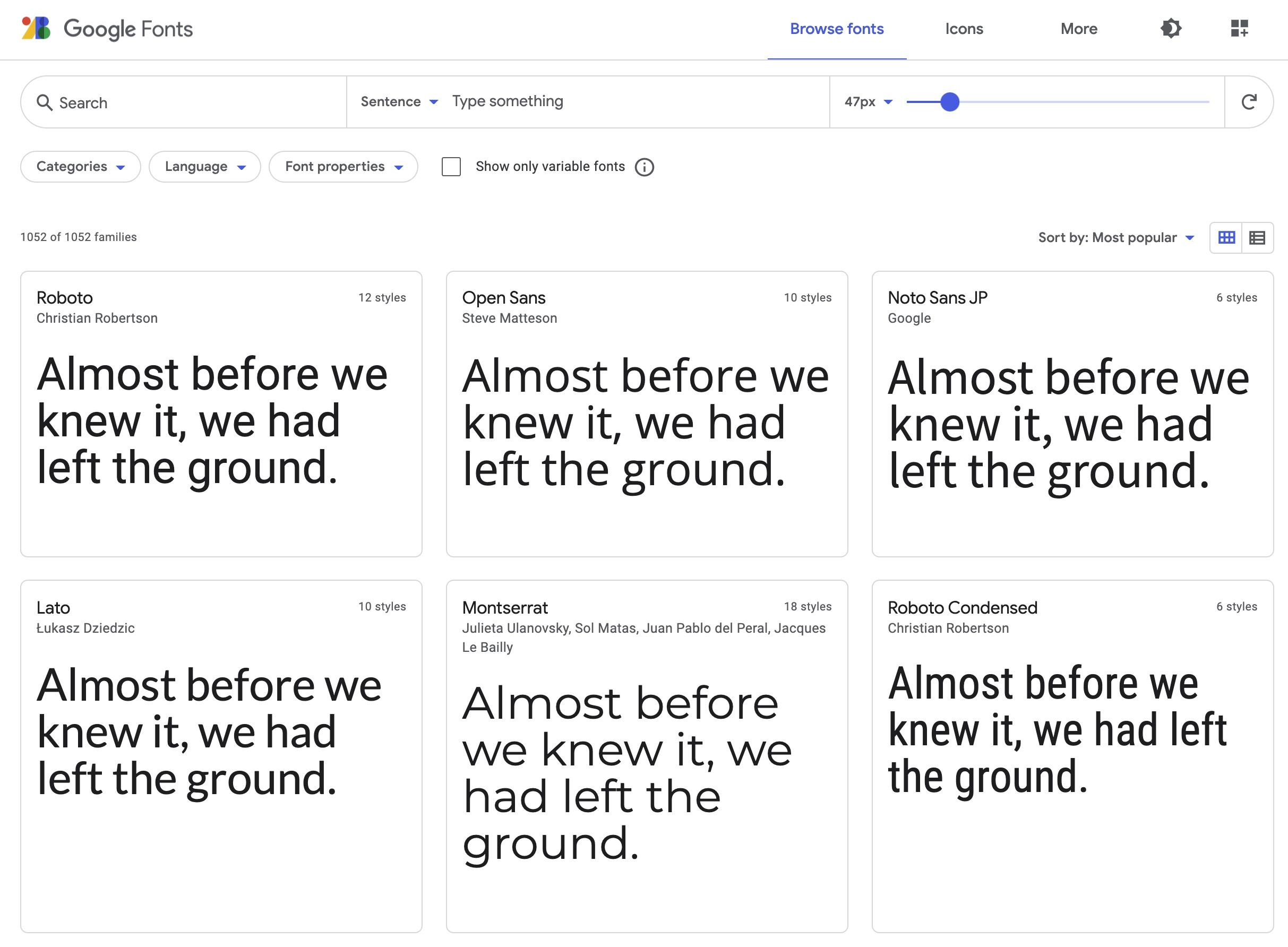 Zeigt die Google Fonts Webseite an. Auf der Seite sind Vorschauen von verschiedenen WebFonts sehen.