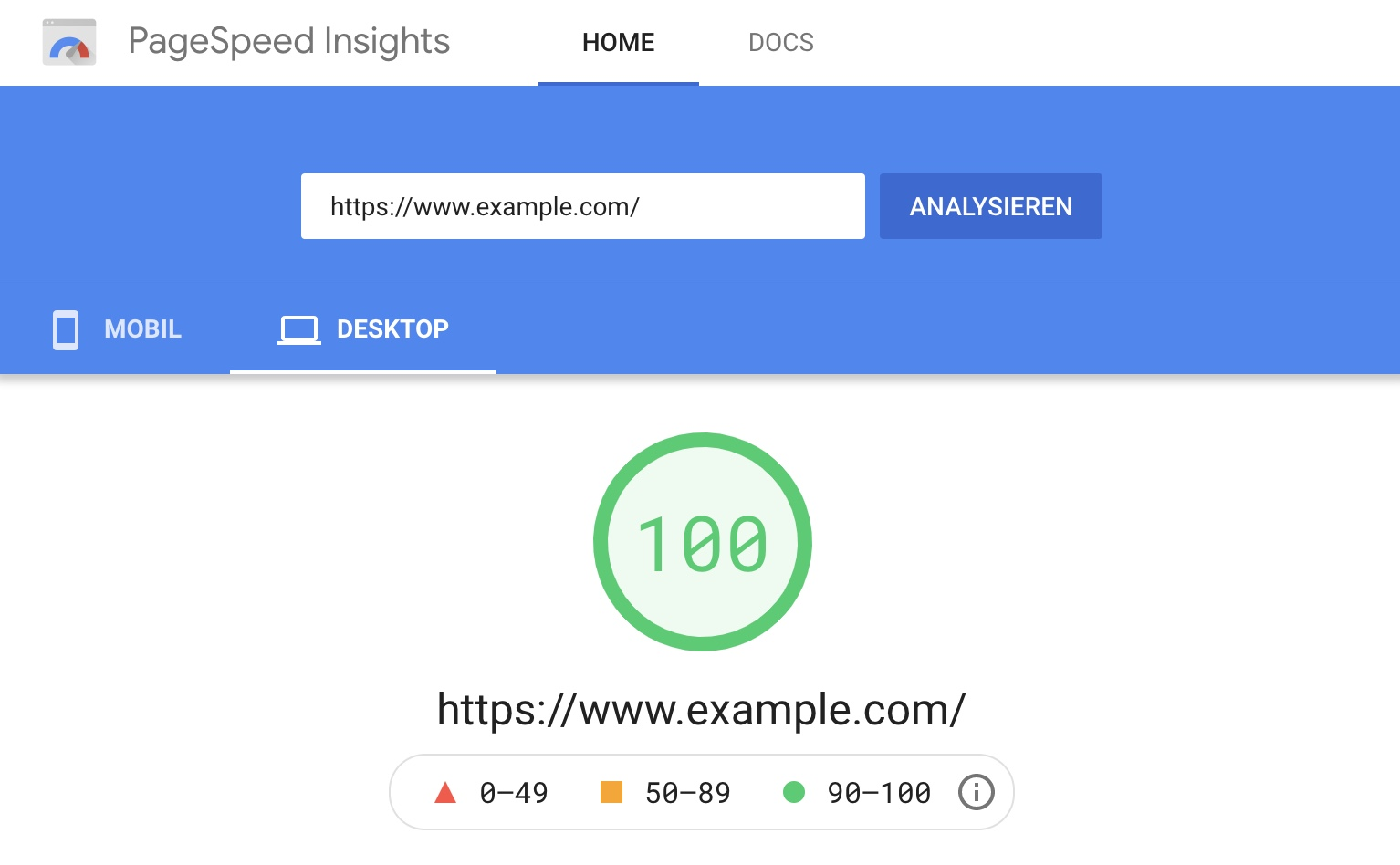 PageSpeed Insights der Domain example.com. Der PageSpeed Score ist hier 100.