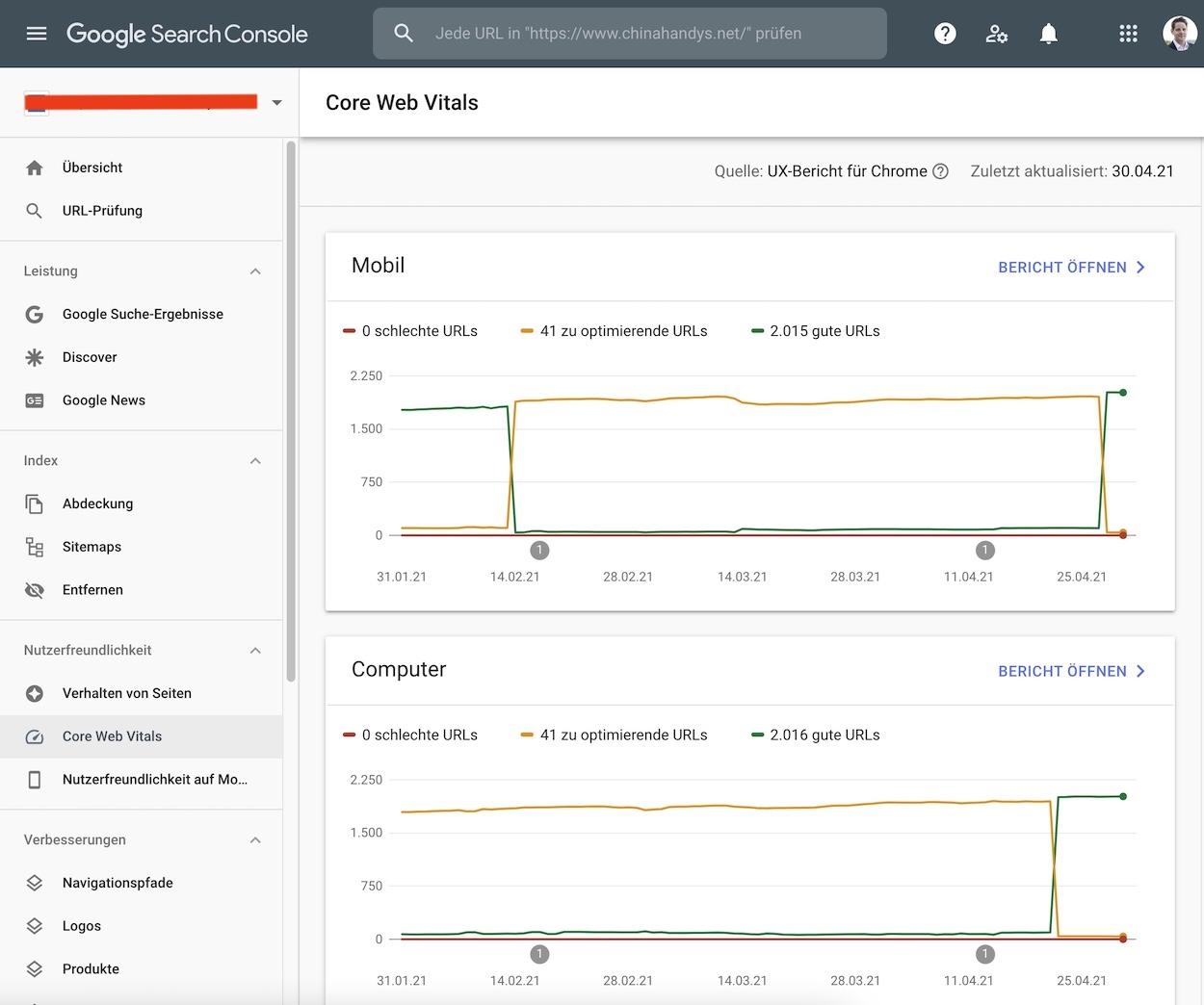 Core Web Vitals in der Google Search Console.