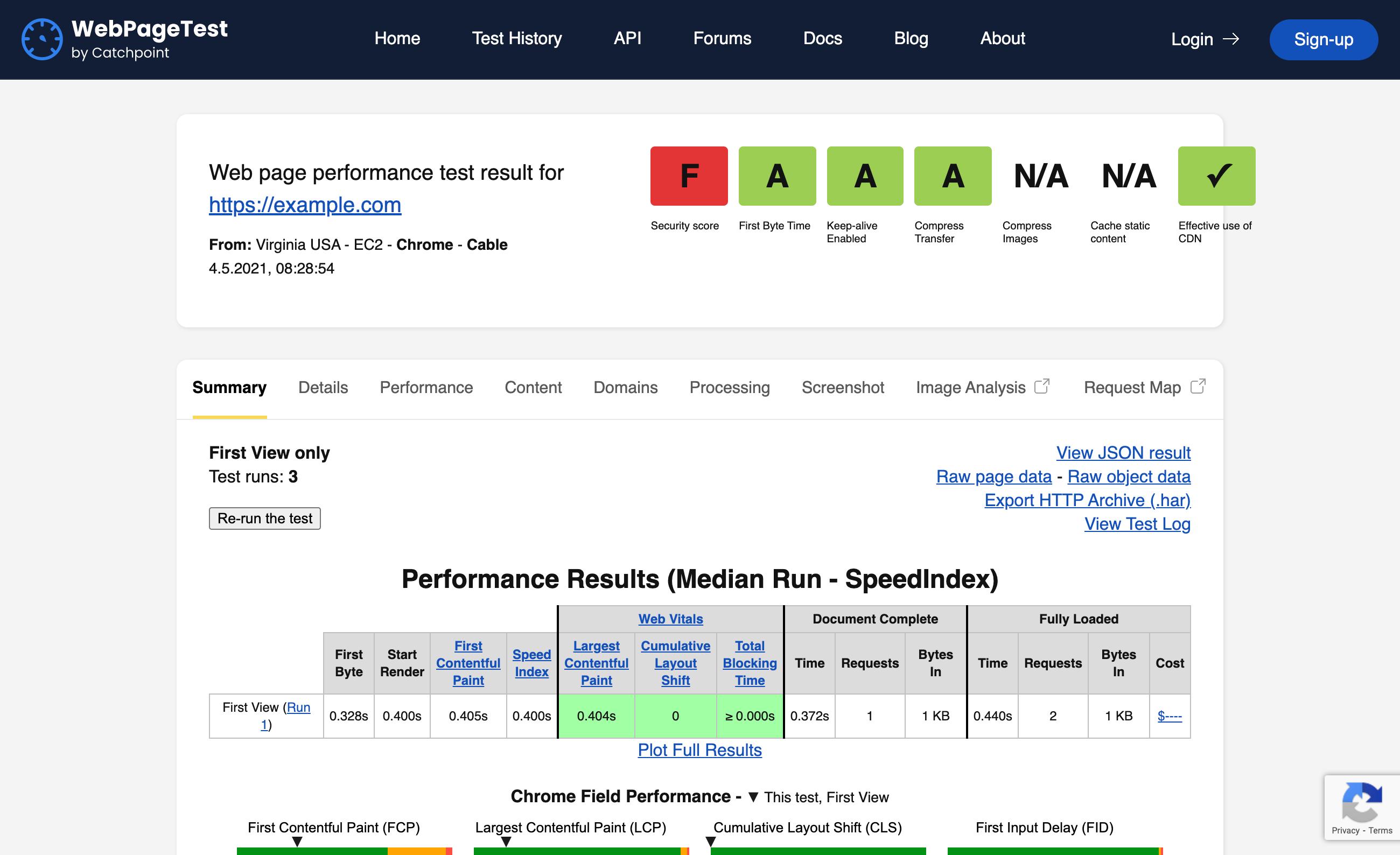 Auswertung in der WebPageTest-Seite.