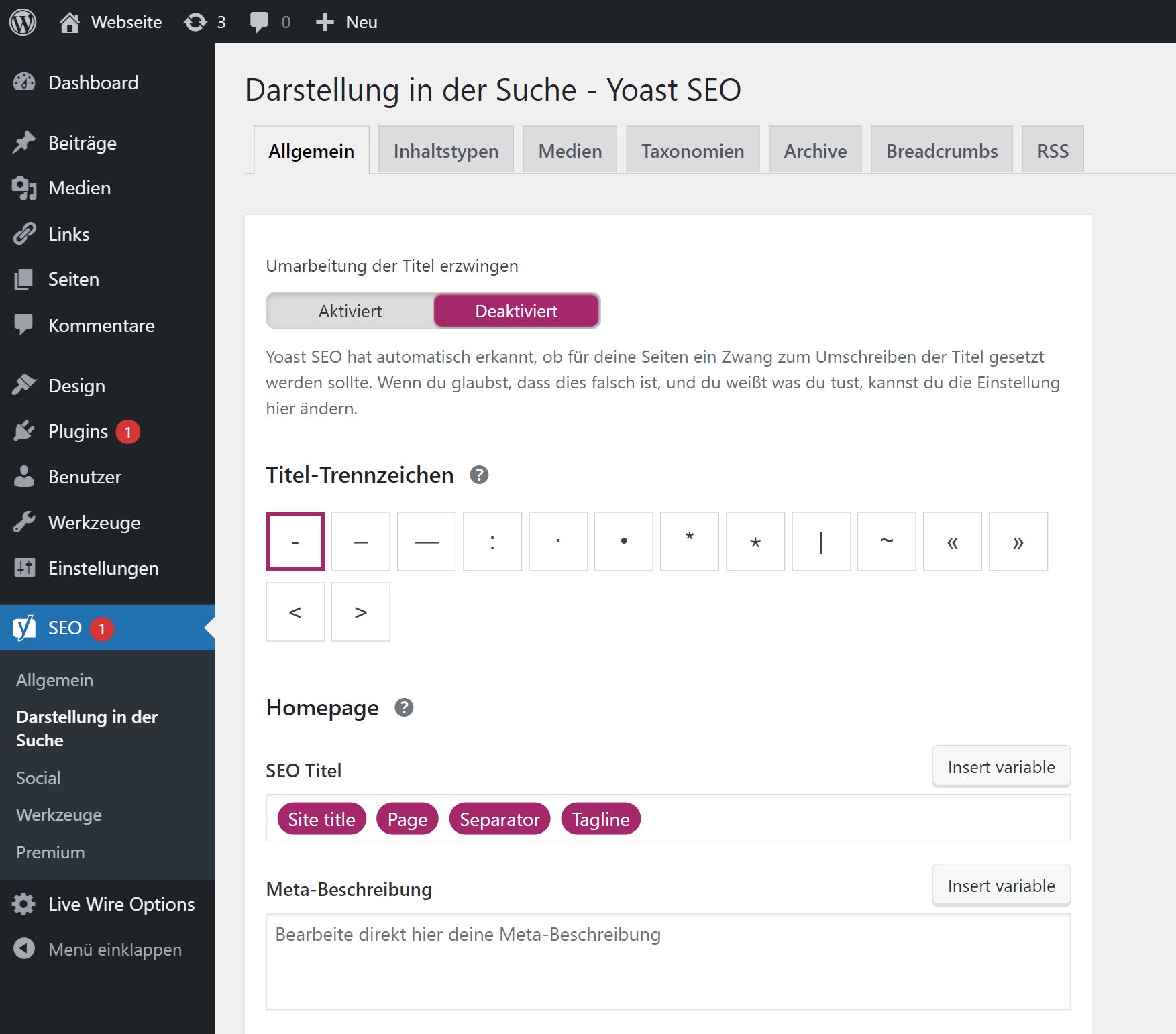 Yoast configuration page for titles