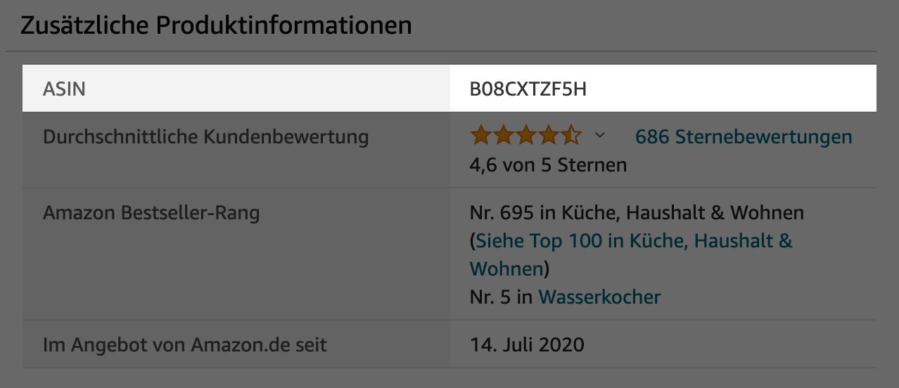 Beispiel einer ASIN-Nummer in den Produktinformationen eines Amazon-Produkts.