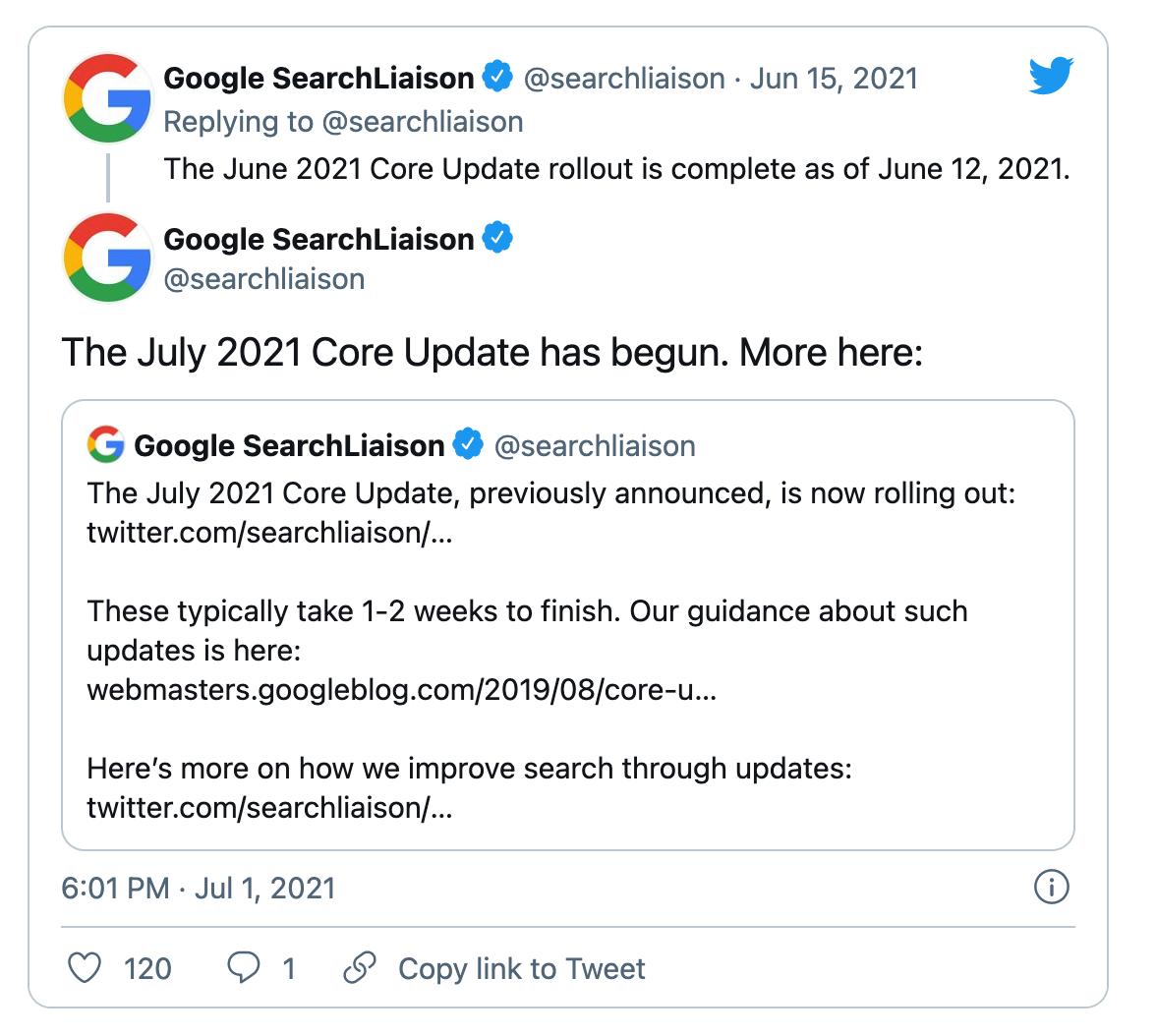 Annuncio del Core Update di luglio 2021
