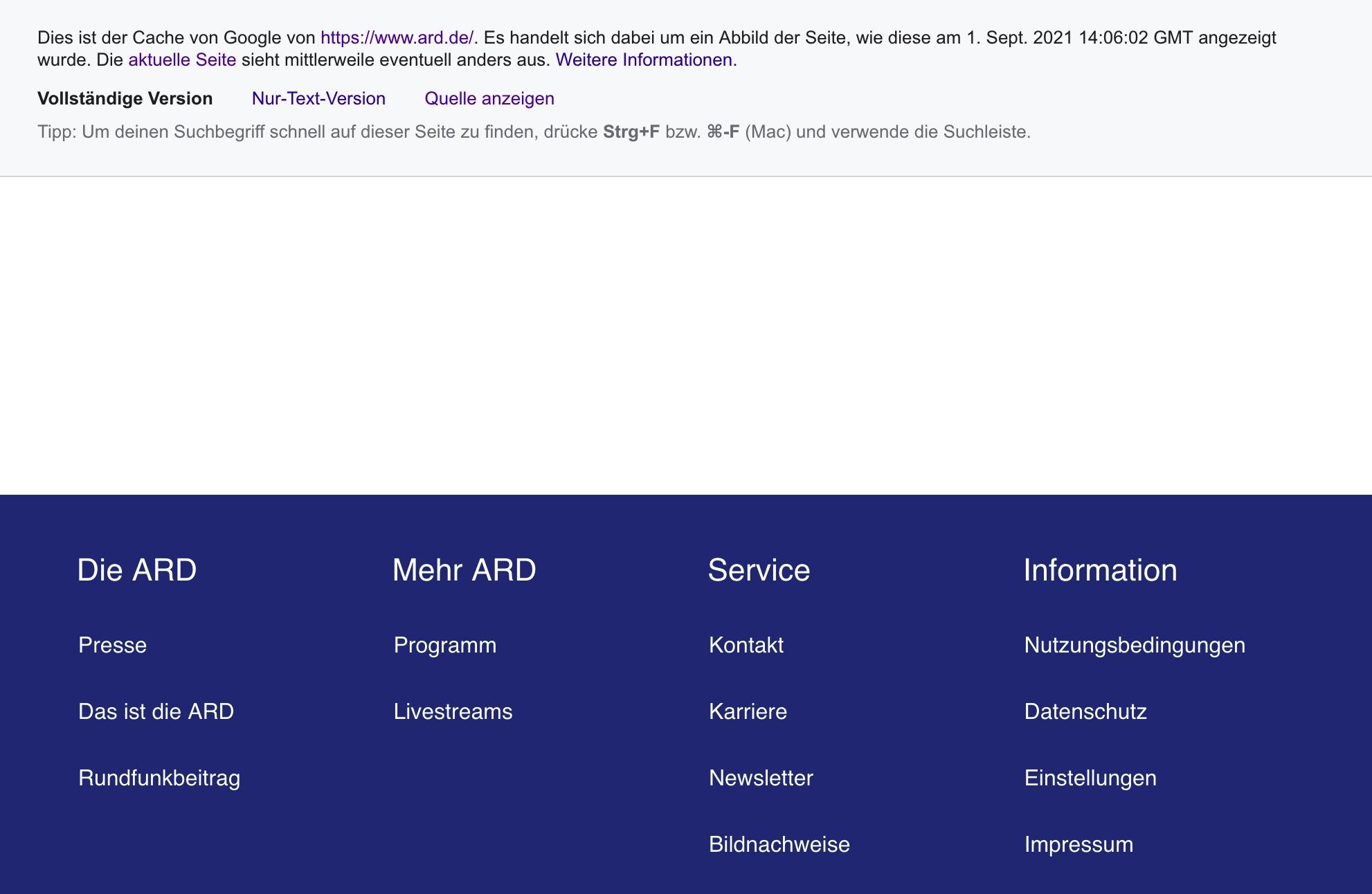 Screenshot der Startseite der ARD